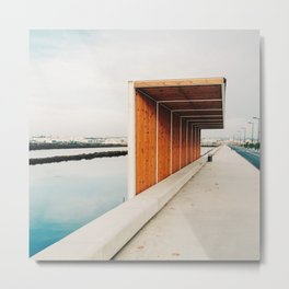 modern wooden bus stop in the salt flats near Tavira, Portugal | Photo Print, Travel Photography Europe Metal Print