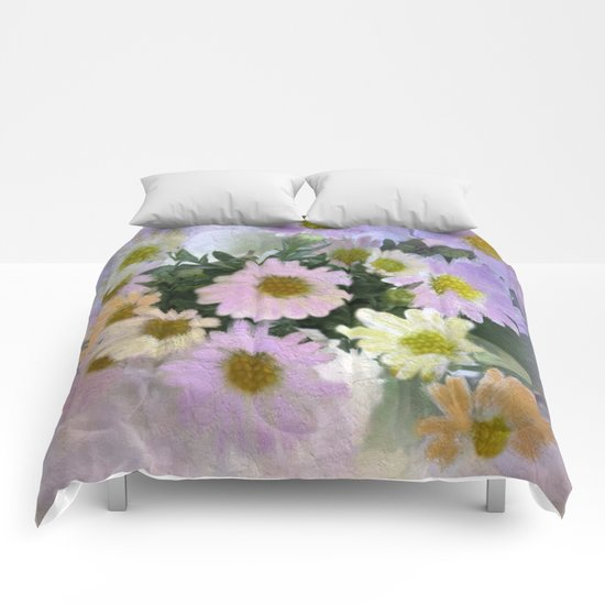 Painterly Spring Pastel Daisies Comforters