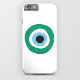 Emerald Dark Green Evil Eye Symbol iPhone Case