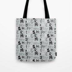 simple silver merry christmas and happy new year Tote Bag