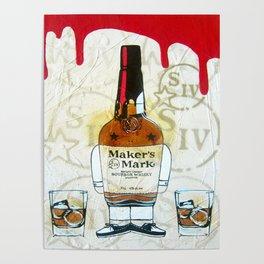 Bourbon Makers Mark cartoon illustration original painting print Poster