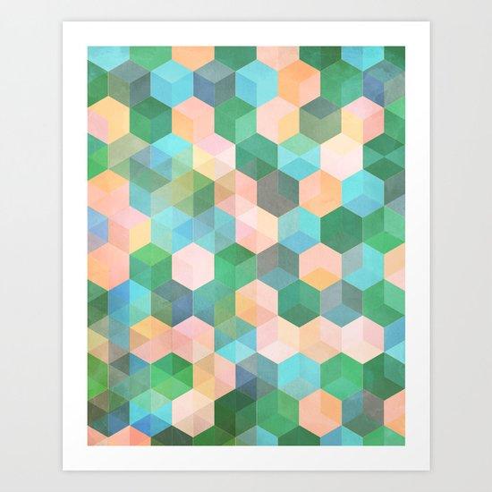 Child's Play - hexagon pattern in mint green, pink, peach & aqua Art Print
