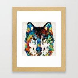 Wolf Art Print - Hungry - By Sharon Cummings Framed Art Print