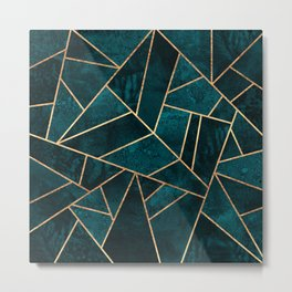 Deep Teal Stone Metal Print