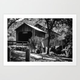 Honey Run Bridge in Black and White Art Print