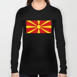 Flag of Macedonia - authentic (High Quality image) Long Sleeve T-shirt