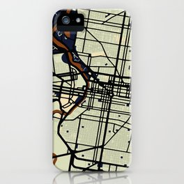 Philadelphia Street Map // Orange Theme iPhone Case