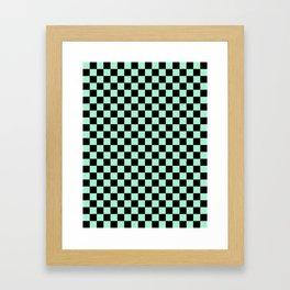 Black and Magic Mint Green Checkerboard Framed Art Print