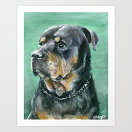 The Colorful Rottweiler Painting Art Print