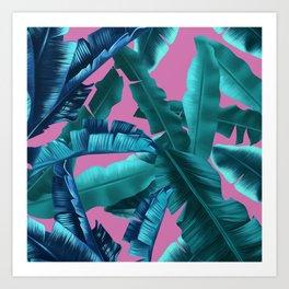 tropical banana leaves pattern pink Art Print