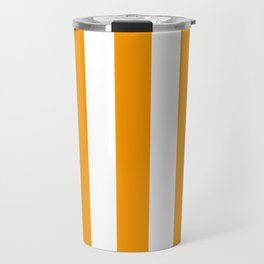 Orange (RYB) - solid color - white vertical lines pattern Travel Mug