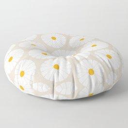 Minimal Botanical Pattern - Daisies Floor Pillow