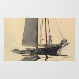 Vintage Schooner Sailboat Watercolor Painting (1894) Rug