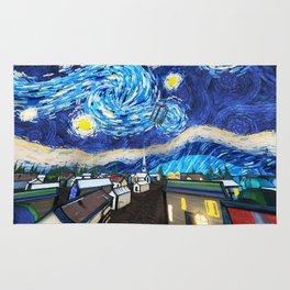Tardis Art Starry City Night Rug