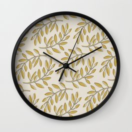Leaves in Yellow and Cream Wall Clock