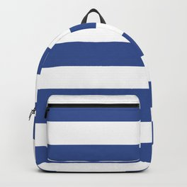 Christmas blue - solid color - white stripes pattern Backpack