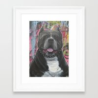 pitbull Framed Art Prints featuring pitbull by stef-w