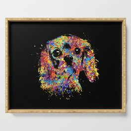 Colorful Cavalier King Charles Spaniel Serving Tray