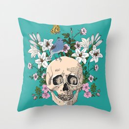 Skull drawing with flowers,bird and butterfly Throw Pillow
