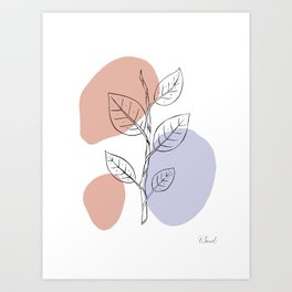 Minimalist Leaf Line Art Art Print