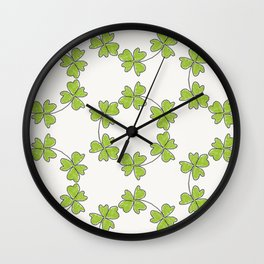 four-leaf clover leaves pattern Wall Clock