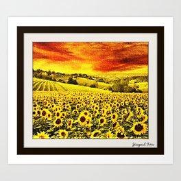 Tuscany Sunflower Field Portrait - Jéanpaul Ferro Art Print