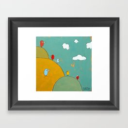 Birds In The Bushes Framed Art Print