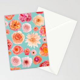 Crepe paper flower seamless pattern pastel colors Stationery Cards