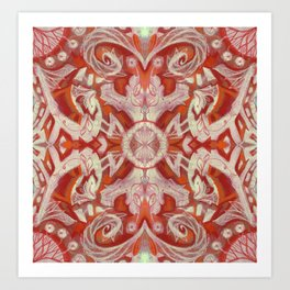 Curves & Lotuses Bohemian Arabesque Pattern Rust Copper Red Taupe Art Print
