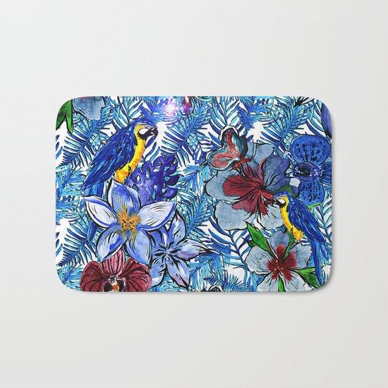 Aloha - Tropical blue Palm Leaf Flower and Bird Pattern Bath Mat