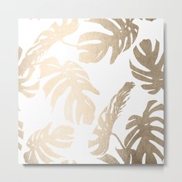 Simply Tropical Palm Leaves in White Gold Sands Metal Print