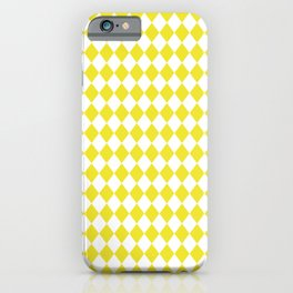 Highlighter Yellow Modern Diamond Pattern on White iPhone Case
