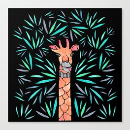 Watercolor giraffe in the leaves Canvas Print