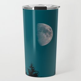 Gibbous Moon Over Pine Tree Silhouette Blue Sky Nature At Night Travel Mug