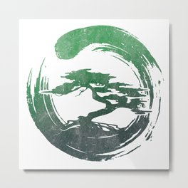 Green Bonsai in Enso Metal Print