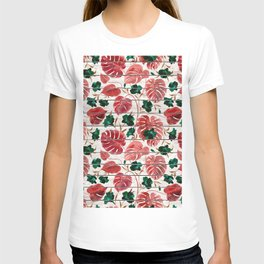 Rustic white wood red green tropical floral illustration T-shirt