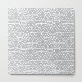 Gray and White Geometric Triangle Pattern Metal Print