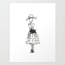 fashion sketch, polka dot Art Print