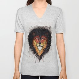 Fire Lion. Unisex V-Neck