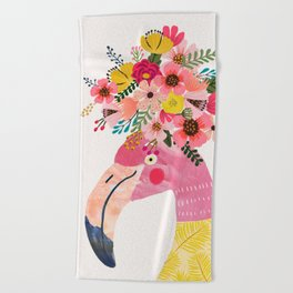 Pink flamingo with flowers on head Beach Towel