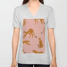 Cheetahs pattern on pink Unisex V-Neck