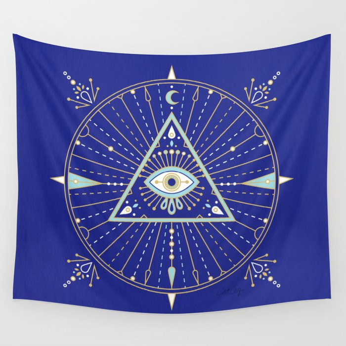Evil Eye Mandala – Navy Wall Tapestry