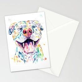 Pit Bull, Pitbull Watercolor Pet Portrait Painting - Tango Stationery Cards