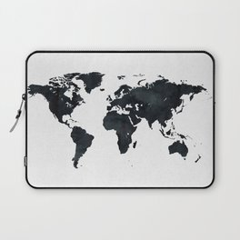 World Map in Black and White Ink on Paper Laptop Sleeve