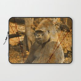 Magnificent Silverback Lowland Gorilla Grunge Photo with Vintage Effects Laptop Sleeve