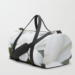 Snow White Flowers on a Dark Background #decor #society6 #buyart Duffle Bag