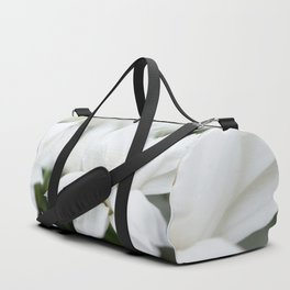 Snow White Flowers on a Dark Background #decor #society6 #buyart Duffle Bag