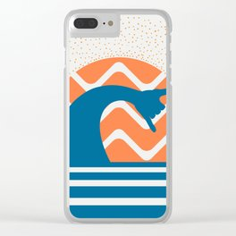 Hang Loose Wave // Sun Surfer Shaka Beach Retro Graphic Design Horizontal Daze Waves Clear iPhone Case