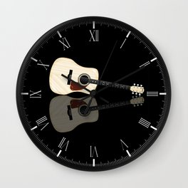 Pale Acoustic Guitar Reflection Wall Clock