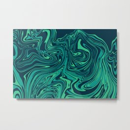 Blue emerald abstract marble Metal Print